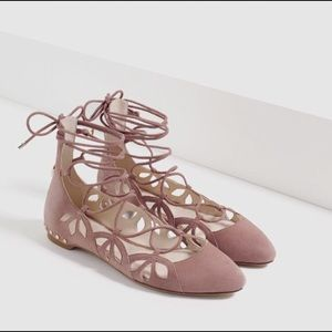🌷Zara New Blush Studded Laced Suede Flats 🌷